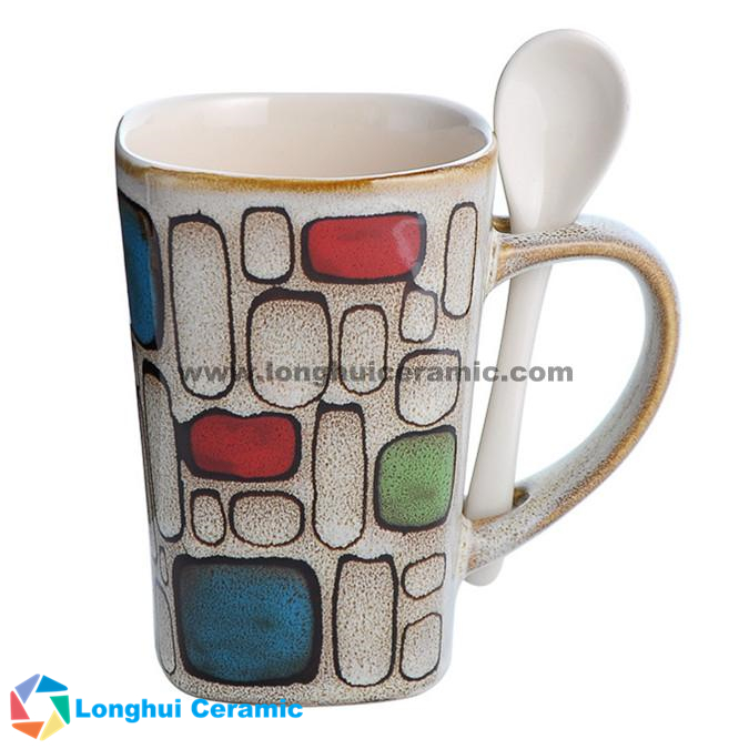 340cc hand painted fashion quadrilateral ceramic coffee mug with spoon