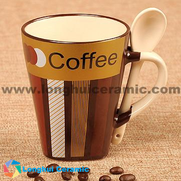 340cc coffee taste design ceramic coffee mug with spoon