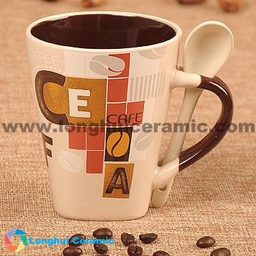 340cc cafebean design ceramic coffee mug with spoon