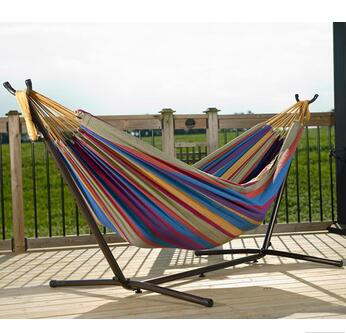 Tropical Double Hammock with Space-Saving Steel Stand