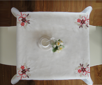 85cm*85cm embroidered flower design table cloth polyester table cloth with low price
