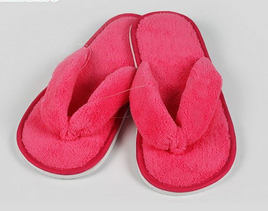 Velour Hotel Slippers with Printing Logo Bathroom Slippers Wholesale