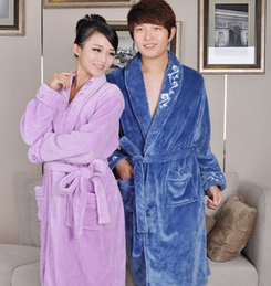 Thermal Light Blue Anti Pilling Twill Nap Hotel Bathrobe