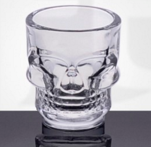 Unique design skull shape customized print drinking shot glass wine glass for whisky/luxury club hotel glassware