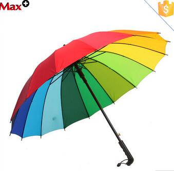 Wholesale 16k windproof straight rainbow umbrella