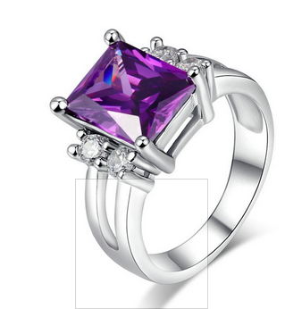2016 Fashion Jewelry Platinum plated Rectangular amethyst ring Lady's Finger Rings Size 6/7/8/9/10