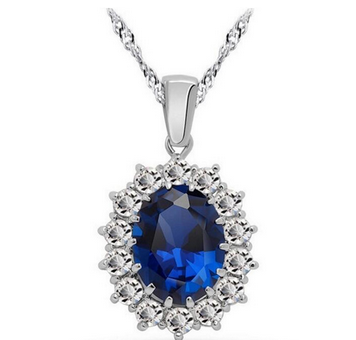 Vintage British Kate Princess Diana William Engagement Wedding Blue Sapphire Pendant Necklace