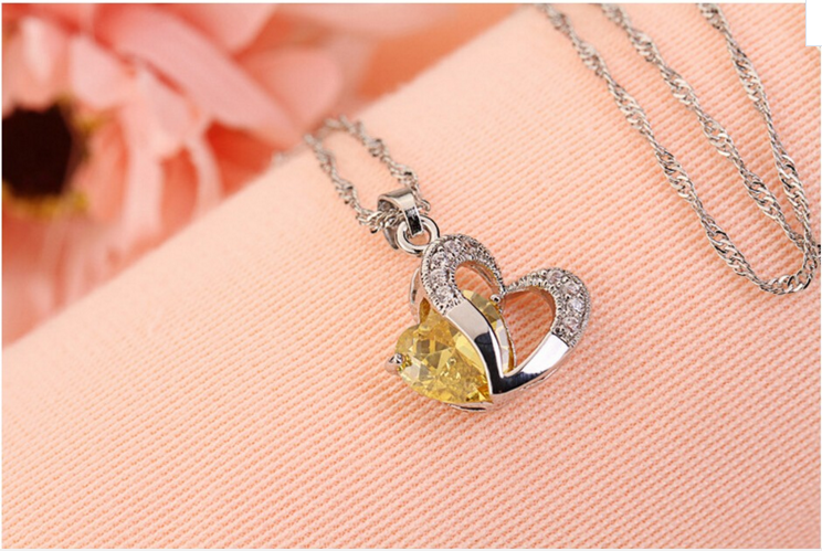 CZ Diamond Heart Necklace