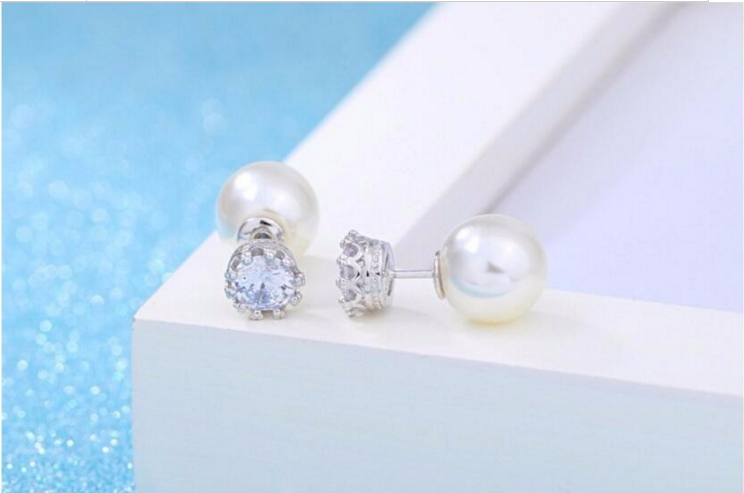 Pearl Zircon Earrings