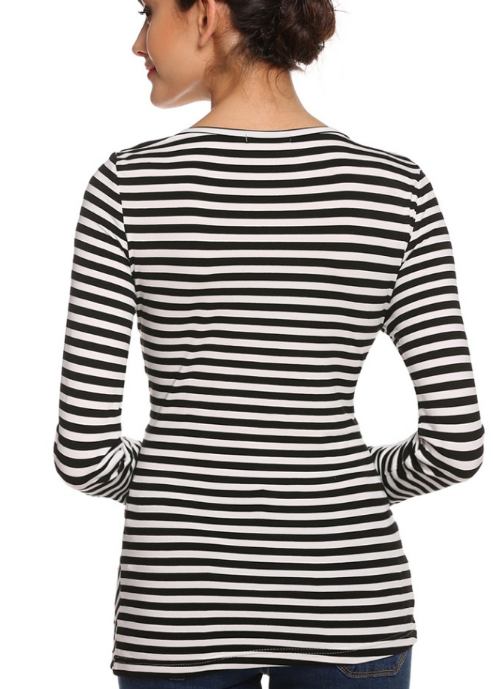New Stylish Finejo Women Casual Long Sleeve V Neck Black and White Striped T-Shirt Blouse
