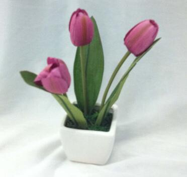 18cm 3heads silk tulip artificial bonsai supplies with ceramic pot