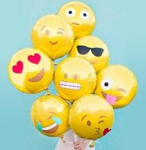 hot selling 18inch dia emoticon smiling face aluminium foil balloon helium balloons for parties