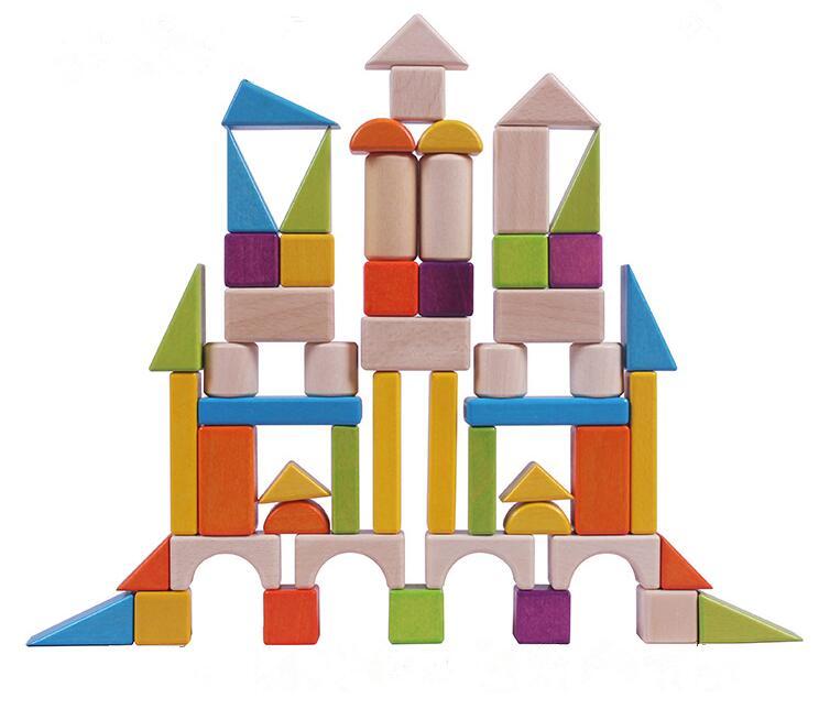 Square Brain Natural Craft Wooden Building Bricks Blocks Toys For Kids Educational DIY Wooden Blocks Toys