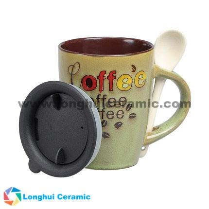 12oz handpainted promotional ceramic coffee cup with spoon and lid