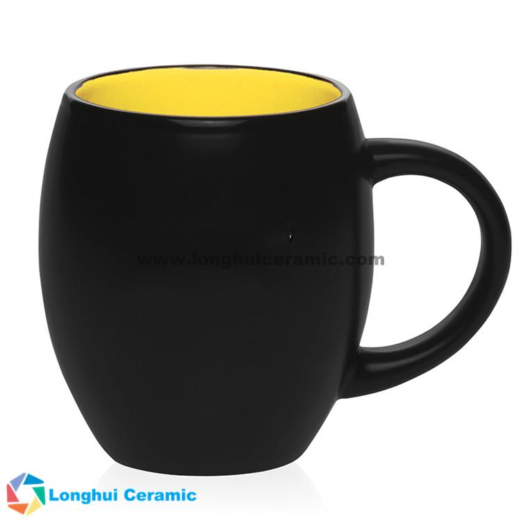 Matte barrel two-tone promotional ceramic coffee mug
