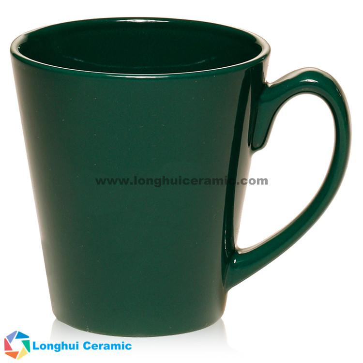 Glossy color glaze ceramic Latte promotional coffee mug