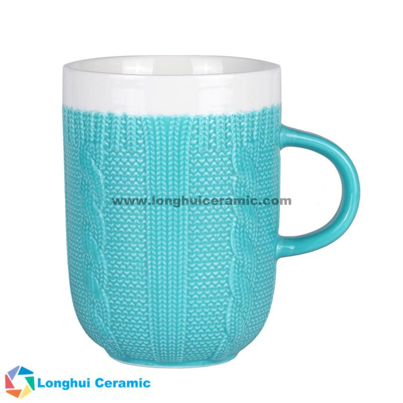 13oz Custom two-tone cable knit design ceramic coffee mug