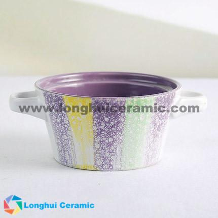 4.8inch Colorful glaze embossed two ears ceramic bowl