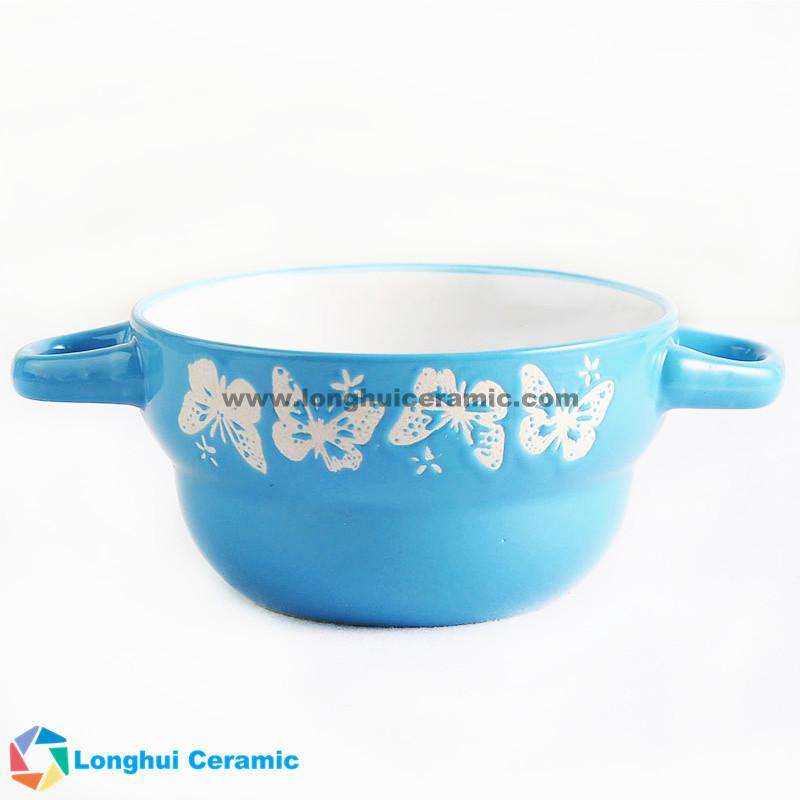 custom design ceramic soup bowl with two ears