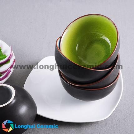 4.7'' glaze-cracked ceramic bowl
