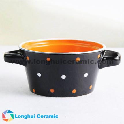 4.8'' color dots printed ceramic soup bowl