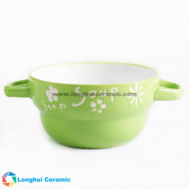 5inch custom design ceramic soup bowl with two ears