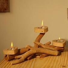 New design home decor craft wooden tealight candle holder