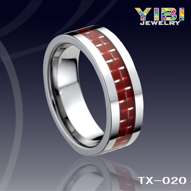 Men's red carbon fiber inlay beveled edge tungsten carbide ring