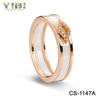 Women's Polished White Ceramic Ring rose gold Zircon Stone Inlaid Wedding Band