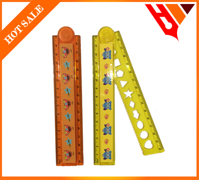 15cm customer unique plastic folding ruler triangle protractor set