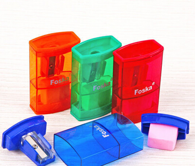 Transparent Color Plastic Pencil Sharpener with Eraser/school pencil sharpener