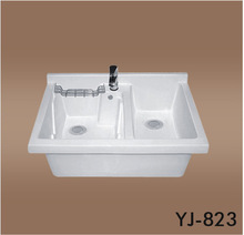 823 Competitive Prices Bathroom Vanity Basin Sanitary Ware Ceramic Hand Basin Cabinet double Washtub