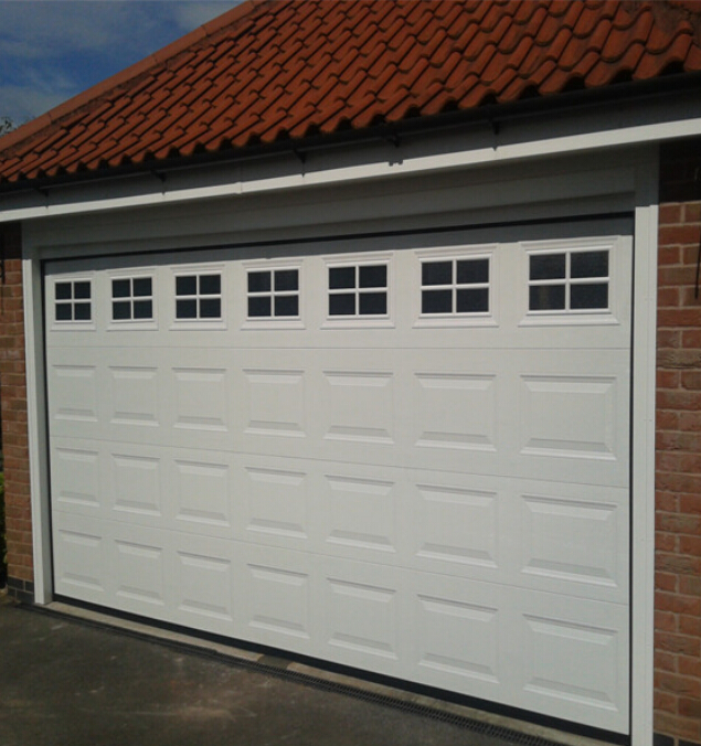 Finger Protection Wooden color Garage Door