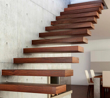 Newly designed straight floating stairs wood