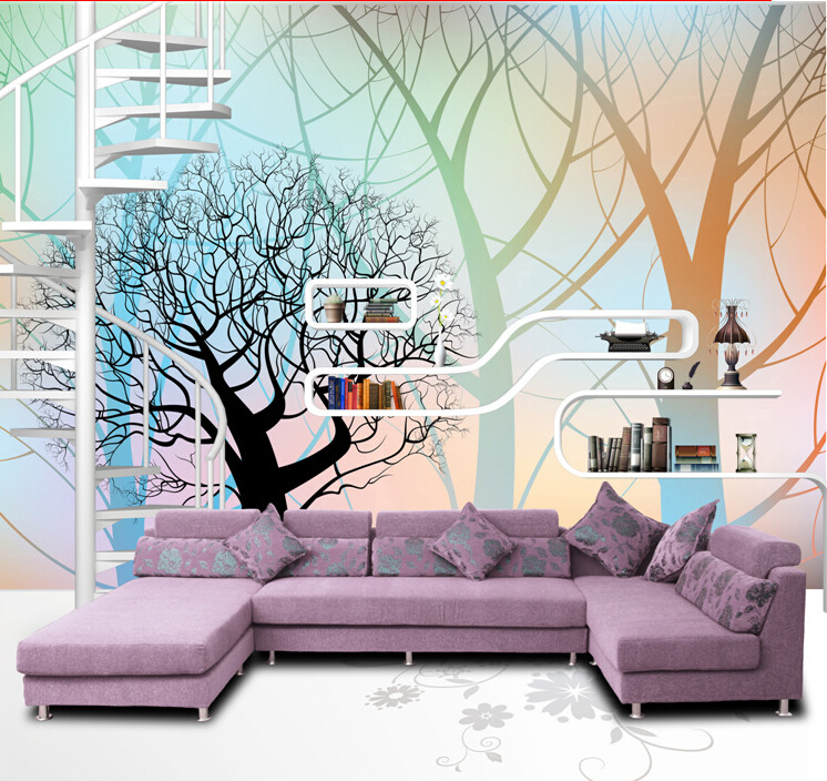 modern style simple tree pattern design picture mural wall paper