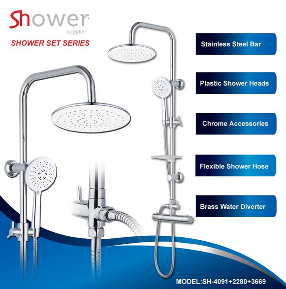 Wall Stainless Steel Shower Facuet Applicative Complete Bath Shower Set