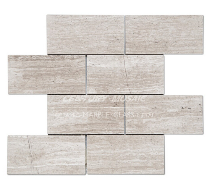 Designed 3''x6'' wood light grain brick marble mosaic wall tile
