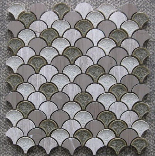 Scale marble mix crackle ceramic glass mosaic backsplash kitchen bathroom wall decorate tile