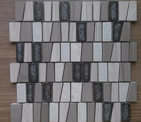 Irregular trapezoid crackle glass ceramic mix light wood and athen grey marble mosaic kitchen backsplash bathroom tile