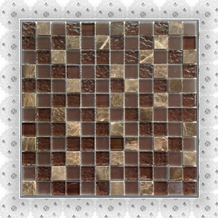 1''x1'' dark emprador mosaic tile brown wall mosaic bathroom mosaics