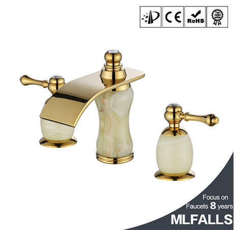 New designs Bathroom Luxury marble gold bathtub & basin taps