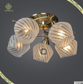 2016 Fashion Design Home Decorative 5 Lights Glass Ceiling Lamp,Antique Brass Ceiling Light