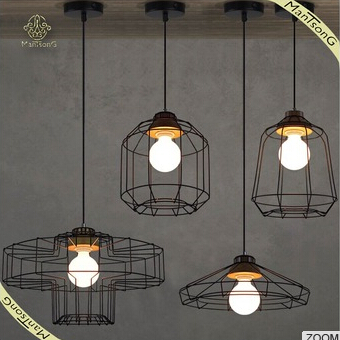 Industrial lamp wrought iron , retro single head pendant light