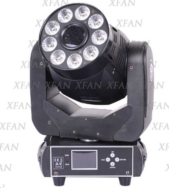 Newest mini led 75W spot with 9x18W 6in1 RGBWA+UV wash moving head led stage light