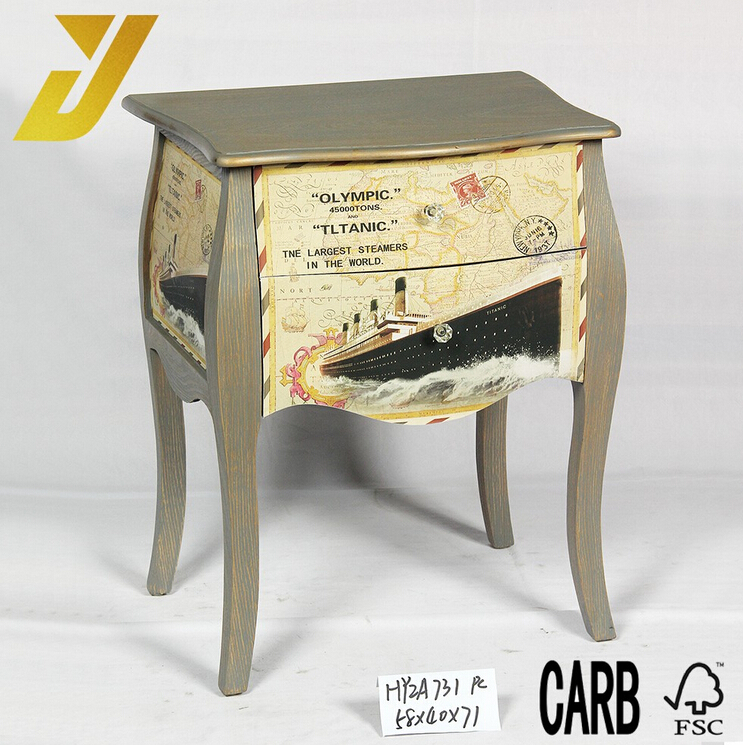 2016 newest cheap vintage design wooden corner cabinet with drawers
