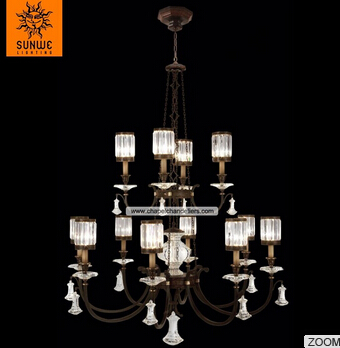 Large hotel 12 lights Metal Crystal wrought iron chandelier lighting