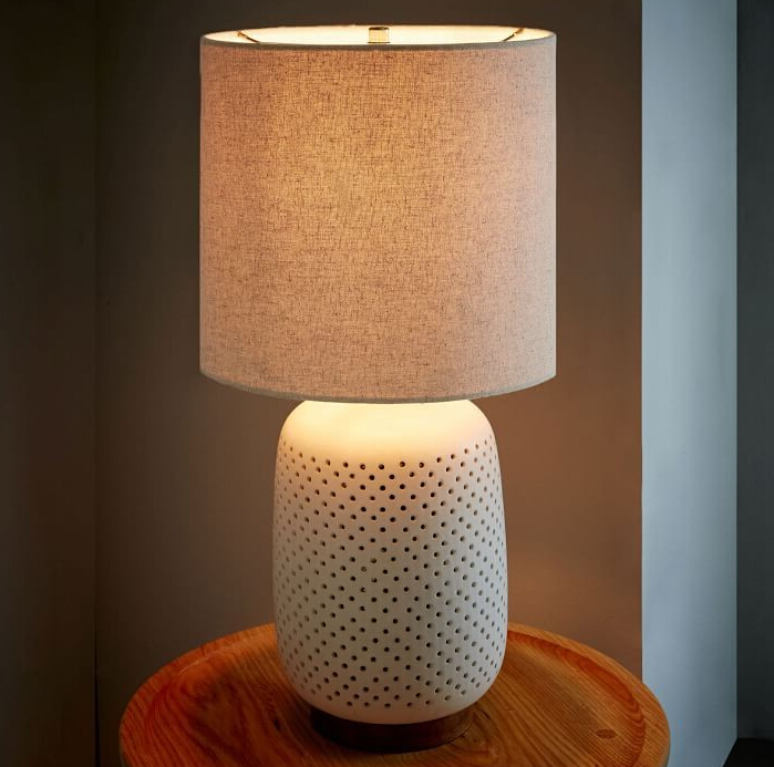 0617-3 white simple white Pierced Ceramic Table Lamp