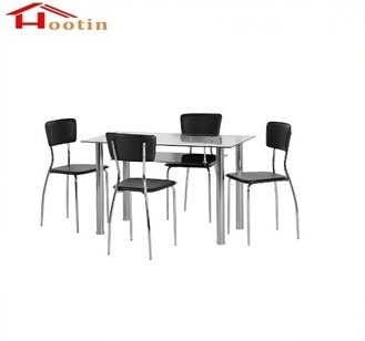 Home Furniture 4 Chairs Double Layer Dining Table