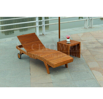 Lounge chair with wheels teak wood furniture
