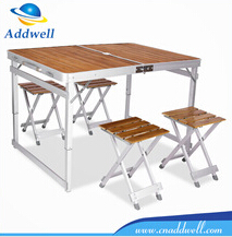 Camping portable aluminum carrying case folding picnic table